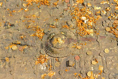 Buddha& x27; s-fotspår på den Mahachai templet i Mahasarakham av Thailan Arkivbilder