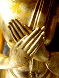 Buddha's Hands. A pair of golden hands that belong to a statue of buddha Royalty Free Stock Images