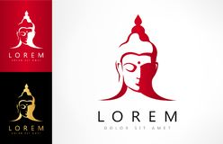 Buddha`s head logo. Logo design vector illustration royalty free illustration