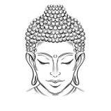 Buddha`s head tattoo. Buddha head - elegant illustration. The symbol of Hinduism, Buddhism, spirituality and enlightenment. Tattoo, illustration, printing on royalty free illustration
