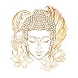 Buddha`s head tattoo. Buddha head - elegant illustration. The symbol of Hinduism, Buddhism, spirituality and enlightenment. Tattoo, illustration, printing on stock illustration