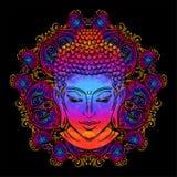 Buddha`s head tattoo. Buddha head with paisley ornament, mehendi. The symbol of Hinduism, Buddhism, spirituality and enlightenment. Tattoo, illustration stock illustration