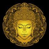 Buddha`s head tattoo. Buddha head with paisley ornament, mehendi. The symbol of Hinduism, Buddhism, spirituality and enlightenment. Tattoo, illustration vector illustration