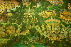 Buddha's Lifetime. Thai Mural painting from the ancient temple, showing buddha's lifestyle via Thai art Stock Photos