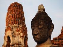 Buddha`s rock head and read prang royalty free stock photo