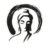 Buddha-Schwarzes lokalisierte Ikone, Zensymbol, Yogalogo vektor abbildung