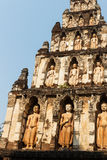 Buddha sculpture on buddhist pagoda in temple Royalty Free Stock Photography