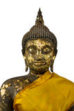 Buddha sculpture with gold plate. Royalty Free Stock Images