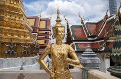Buddha sculpture in Grand Palace Thailand. Wide angled view of Buddha sculpture Kinora or Kinnaree ( mythological creature, half bird, half man ) at Wat Phra Royalty Free Stock Photography
