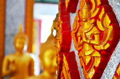 Buddha sculpture in thailand temple. Chalong temple, Phuket, Thailand.temple details Stock Photography
