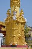 Buddha sculptures. Column base in Kushinagar Stock Photo