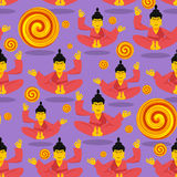 Buddha seamless pattern. Seated Buddha in lotus position. Indian Royalty Free Stock Image