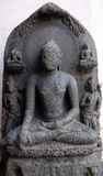 Buddha seated in bhumisparsha. From 10th century found in Basalt, Bihar now exposed in the Indian Museum in Kolkata, West Bengal, India stock images