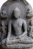 Buddha seated in bhumisparsha. From 10th century found in Basalt, Bihar now exposed in the Indian Museum in Kolkata, West Bengal, India stock photo