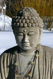 Buddha: serenity in snow stock photography