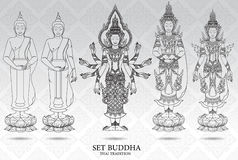 Buddha set thai tradition style,pattern background. Vector Stock Photography