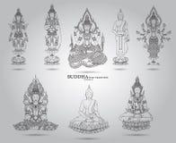 Buddha set thai tradition style. Vector Royalty Free Stock Photos