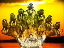 Buddha and seven heads Naga sunset on the river Stock Image