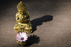 Buddha and shadow. Golden Buddha with altar and flower projecting shadow Royalty Free Stock Photos