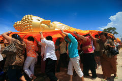 Buddha. Shot of unidentified people are worship with golden buddha at Thailand Stock Images