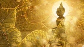 Buddha siedzi na Złocistego boleaf tła dwoistym ujawnieniu lub silhouet zdjęcia stock