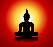 Buddha silhouette against red background Royalty Free Stock Images