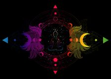 Free Buddha Silhouette In Lotus Position Over Ornate Mandala Lotus Flower And Moon Phases Sacred Geometry, Spiritual Yoga. Isolated Royalty Free Stock Photo - 183270945