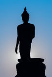 Buddha silhouette statue standing Royalty Free Stock Photo
