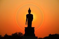 buddha silhouettestaty arkivbild