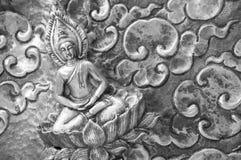 Buddha on silverware, thai craftmanship. Buddha meditate on lotus peacefully Stock Photography