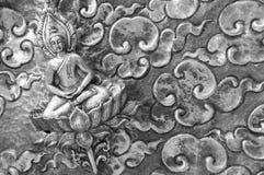 Buddha on silverware, thai craftmanship. Buddha meditate on lotus peacefully Royalty Free Stock Photo