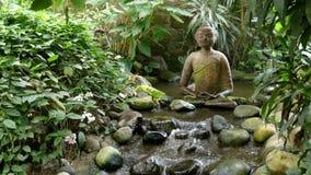Buddha-Skulptur, fließendes Wasser, Ente stock footage