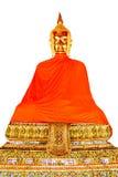 Buddha-Skulptur mit gelber Robe. Lizenzfreie Stockbilder