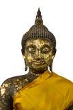 Buddha-Skulptur mit Goldplatte. Lizenzfreie Stockbilder