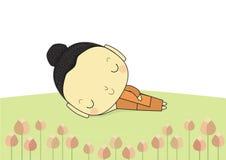 Buddha sleep. Sleeping buddha on ground around with lotus flower royalty free illustration