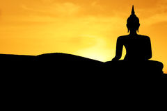 buddha solnedgång Arkivbild