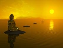 buddha solnedgång Arkivfoto