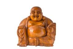 Buddha sorridente di legno con fondo isolato Fotografia Stock Libera da Diritti