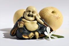 Buddha sorridente felice con due pere asiatiche immagini stock