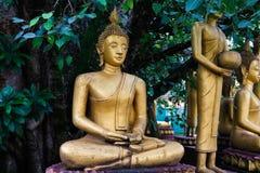 Buddha sotto l'albero delle pagode in tempio di laotiano, Laos fotografia stock