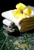 Buddha Spa. Asian Nature Spa with towels and flower Stock Image
