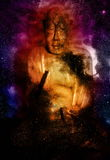 Buddha in space and stars, galaxy background Stock Photos