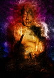 Buddha in space and stars witg flash, galaxy Stock Photos