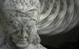 Buddha spirits. Mixed media: Blending of a photograph with a fractal design Stock Photo