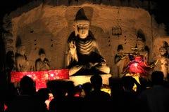 Buddha statua przy nocy Fo Guang shanem Malezja zdjęcia royalty free