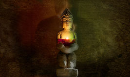 Buddha statua z świeczką Zdjęcia Stock