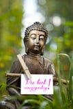 Buddha statua z słowa Du Bist einzigartig! Zdjęcia Stock
