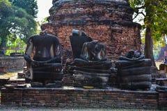 Buddha statua zostaje Wat Phra Sri Sanphet światowego dziedzictwa miejsce w Ayutthaya, Tajlandia zdjęcie stock