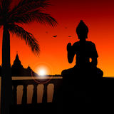 Buddha statue. Silhouette of a buddha statue Royalty Free Stock Photos