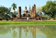 Buddha statue. Wat Mahathat Temple in Sukhothai Historical Park Stock Photo